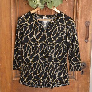 Anne Klein Black Top with Gold Chains Top Size S